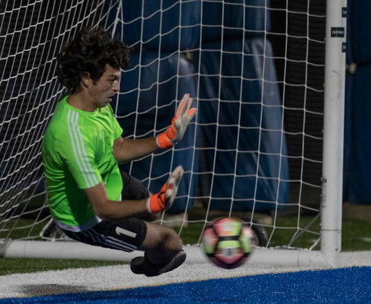 Manasquan goalie Joe Weinstein can't block the penalty shot by CBA Luke Pascarella that tied up the game. Christian Brother Academy vs Manasquan Boys Soccer in Shore Conference Tournament Semifinal game in West Long Branch NJ on October 19, 2019.