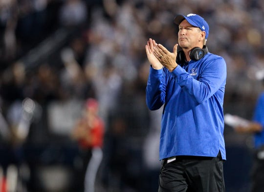 Sep 7, 2019; University Park, PA, USA; Buffalo Bulls head coach Lance Leipold reacts from the sideline during the first quarter against the Penn State Nittany Lions at Beaver Stadium. Penn State defeated Buffalo 45-13. Mandatory Credit: Matthew O'Haren-USA TODAY Sports