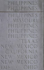 Home states are listed beside the names of the missing, including those Filipinos who served with the U.S. military during World War II. The names are carved into the Walls of the Missing at the Manila American Cemetery Saturday Oct. 19, 2019.
