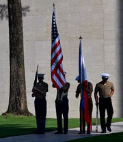 An honor guard of U.S Marines and Philippine Marines readies itself for Saturday's dedication of the new Visitor Center at the Manila American Cemetery Oct. 19, 2019.