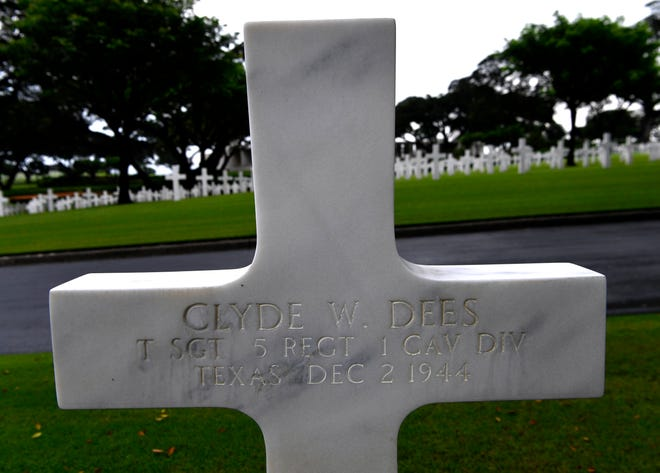 The marker of Clyde Dees, a former resident of Taylor County, Texas, at the Manila American Cemetery  Saturday Oct. 19, 2019.