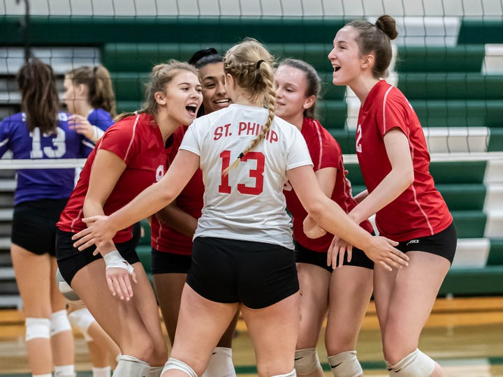 St. Phillip reacts after a point during first round action at All City Volleyball Tournament on Saturday, October 19th, 2019.
