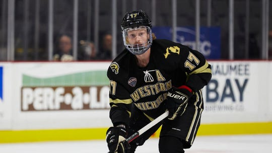 Western Michigan forward Wade Allison (17) in action against the Ohio State during an NCAA hockey game on Friday, Oct. 11, 2019 in Toledo, Ohio.