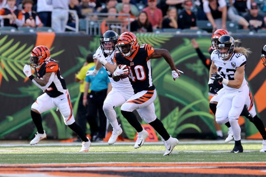 Cincinnati Bengals defensive back Brandon Wilson (40) returns a kickoff in the fourth quarter during a Week 7 NFL football game against the Jacksonville Jaguars, Sunday, Oct. 20, 2019, at Paul Brown Stadium in Cincinnati. Jacksonville Jaguars won 27-17.