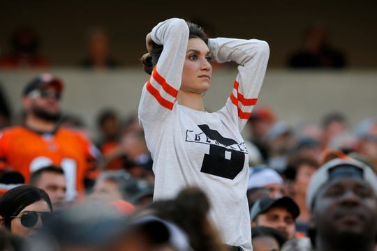 Bengals fans react after an incomplete pass in the fourth quarter of the NFL Week 7 game between the Cincinnati Bengals and the Jacksonville Jaguars at Paul Brown Stadium in downtown Cincinnati on Sunday, Oct. 20, 2019. The Bengals fell to 0-7 on the season with a 27-17 loss at home.