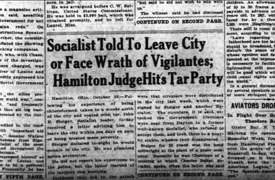 A story from the front page of the Oct. 21, 1919 edition of the Cincinnati Enquirer.