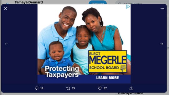 "City Councilwoman Tamaya Dennard posted a photo of Megerle's campaign ad calling the candidate for the Cincinnati Public Schools board a ""pretender."""