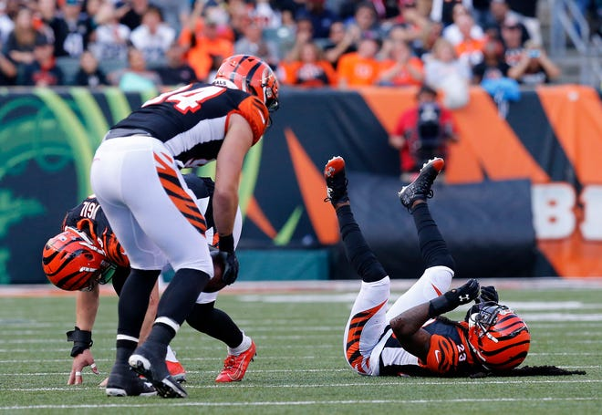 Cincinnati Bengals cornerback B.W. Webb (23) pacts after dropping a near interception in the fourth quarter of the NFL Week 7 game between the Cincinnati Bengals and the Jacksonville Jaguars at Paul Brown Stadium in downtown Cincinnati on Sunday, Oct. 20, 2019. The Bengals fell to 0-7 on the season with a 27-17 loss at home.