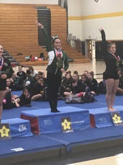 East Brunswick's Karina Munoz after winning one of her five gold medals at the 2019 GMC Gymnastics Championships