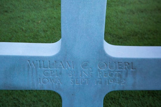 """This undated photo of the plot of William """"Bill"""" Querl in Manila American Cemetery in Taguig City, Manila, from a folder of images, Thursday, Oct., 17, 2019, at the apartment of his niece, Marilea Schmidt, in Marion, Iowa."""