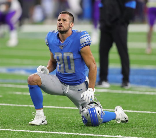 Lions wide receiver Danny Amendola warms up on Sunday, Oct. 20, 2019, at Ford Field.