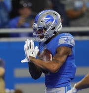 Detroit Lions receiver Marvin Jones celebrates his third touchdown against the Minnesota Vikings during the first half Sunday, Oct. 20, 2019 at Ford Field.