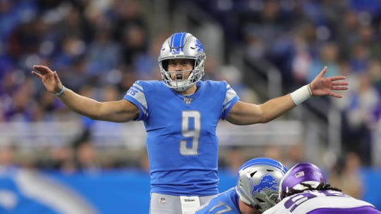 Detroit Lions quarterback Matthew Stafford calls a play against the Minnesota Vikings during the first half Sunday, Oct. 20, 2019 at Ford Field.