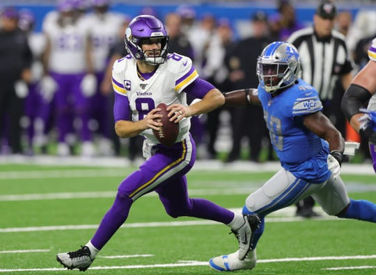 Detroit Lions linebacker Jarrad Davis pressures Minnesota Vikings quarterback Kirk Cousins during the first half Sunday, Oct. 20, 2019 at Ford Field.