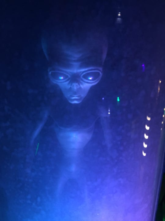 "Aliens are part of the ""Area 51"" room at Mystery Town, USA."