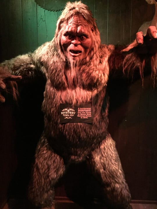 This 8-foot replica of Bigfoot is one of Mystery Town, USA's main attractions.