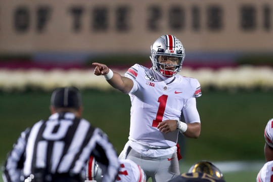Ohio State quarterback Justin Fields has 22 touchdown passes, with just one interception so far this season.