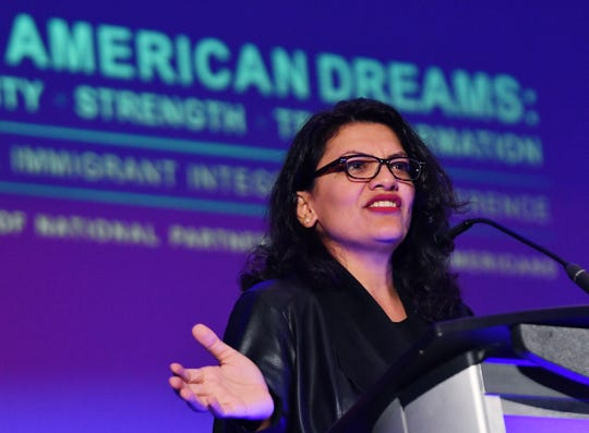 U.S. Rep. Rashida Tlaib gives her remarks during the National Immigration Integration Conference, at the TFC Center, in Detroit, October 20, 2019
