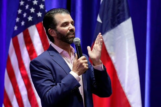 In this Oct. 15, 2019, photo, Donald Trump, Jr. speaks to supporters of his father, President Donald Trump, during a panel discussion in San Antonio. (AP Photo/Eric Gay)