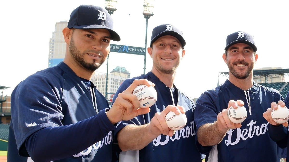Anibal Sanchez, Max Scherzer, and Justin Verlander in the Detroit Tigers rotation.