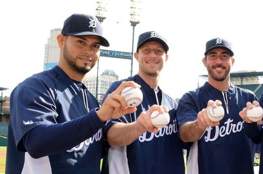 Former Tigers Anibal Sanchez, Max Scherzer and Justin Verlander are in the World Series, which starts Tuesday.