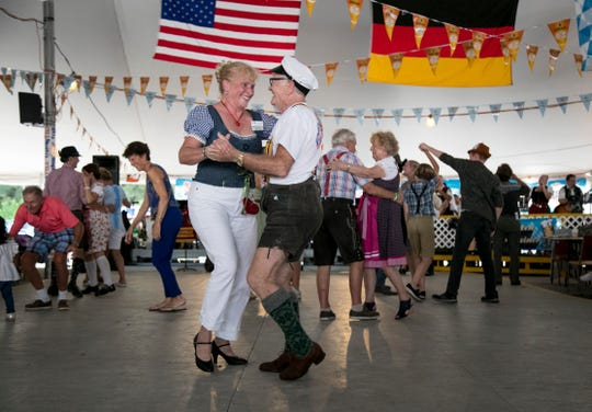 Linda Brand and Stefan Geisel dance at Oktoberfest on Saturday, October 19, 2019, in Cape Coral.
