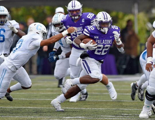 Devin Wynn  gained 87 of Furman's 296 yards rushing and scored two touchdowns.