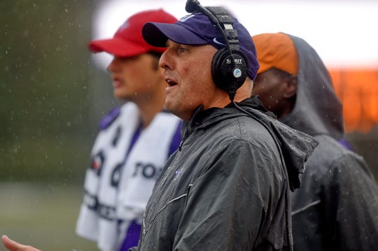 Furman coach Clay Hendrix, shown during an October game, saw the Paladins' season end in the rain Saturday.