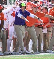 Clemson Defensive Coordinator Brent Venables calls defensive plays during the fourth quarter at Cardinal Stadium in Louisville, Kentucky Saturday, October 19, 2019.