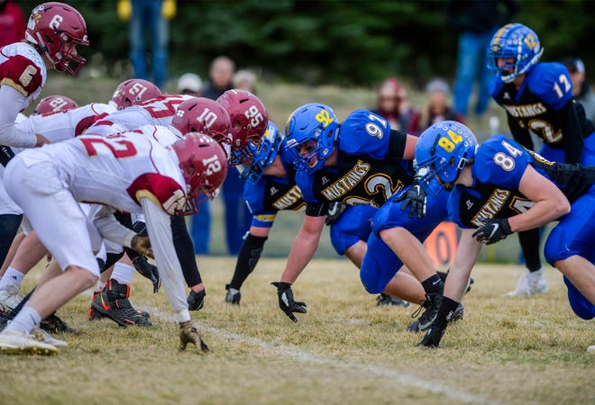 The Great Falls Central Mustangs, shown playing Fort Benton last October, will begin the 2020 season Saturday night when they host Twin Bridges in the Mustangs' first home game at Memorial Stadium in 47 years.