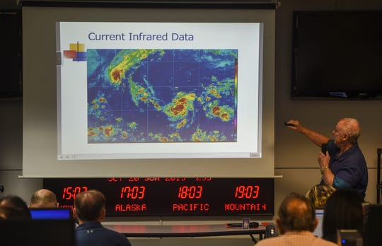 Chip Guard, National Weather Service warning coordination meteorologist, discusses current infrared data during a heavy weather briefing for Tropical Storm Bualoi at Guam Homeland Security – Office of Civil Defense in Agana Heights, Oct. 29, 2019.