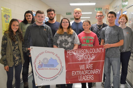 CTE Students of the quarter are, front Row (Left to Right): Hallie Mattingly, Hunter Hagan, Victoria Gilbert, Vanessa Seaver, Dylon Moore. B Back Row (Left to Right): Frank Reed, Max Baker, Bryce Galloway, Kaleb Nelson, Sarah Gomer. Not Pictured:  Matthew Turner, Jacob Goldie, Tylyn Avery, Hannah Herron