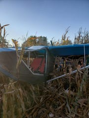 A small ultralight aircraft crashed in a Johnson County, Indiana, cornfield on Sunday, Oct. 20, 2019. No injuries were reported, police said.