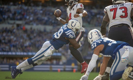 Justin Houston of the Indianapolis Colts blows up Deshaun Watson, quarterback of the Houston Texans, during a late scramble in their  game Oct. 20 at Lucas Oil Stadium. The Colts won 30-23.