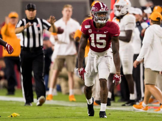 Alabama defensive back Xavier McKinney (15) reacts to a flag thrown on him during Tennessee's game against Alabama at Bryant-Denny Stadium in Tuscaloosa, Ala., on Saturday, October 19, 2019.