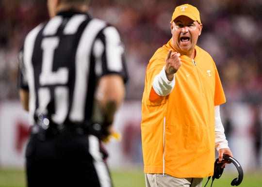 Tennessee head coach Jeremy Pruitt yells at an official during the Oct. 19 game against Alabama at Tuscaloosa.
