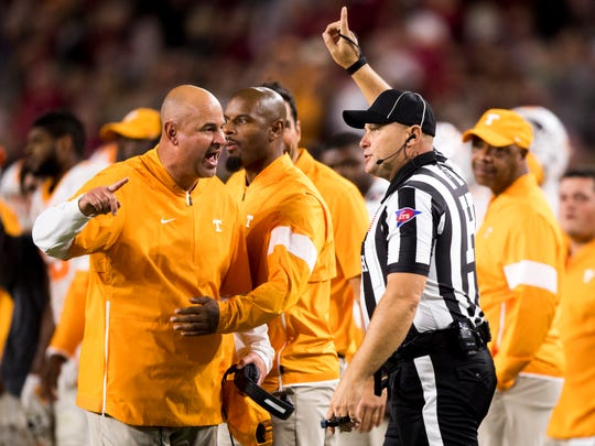 Tennessee Head Coach Jeremy Pruitt yells at an official during Tennessee's game against Alabama at Bryant-Denny Stadium in Tuscaloosa, Ala., on Saturday, October 19, 2019.