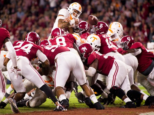 Tennessee quarterback Jarrett Guarantano (2) fumbles the ball at the goal line on fourth down during Tennessee's game against Alabama at Bryant-Denny Stadium in Tuscaloosa, Ala., on Saturday, October 19, 2019.