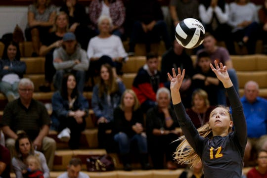 McCutcheon's Kailee Cornell (12) returns the ball during the third set of an IHSAA girls volleyball sectional championship match, Saturday, Oct. 19, 2019 in Lafayette. McCutcheon won, 3-0 (25-10, 25-10, 25-14).