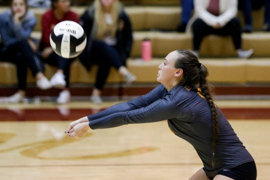 McCutcheon's Brooke Humphrey (10) hits the ball during the third set of an IHSAA girls volleyball sectional championship match, Saturday, Oct. 19, 2019 in Lafayette. McCutcheon won, 3-0 (25-10, 25-10, 25-14).