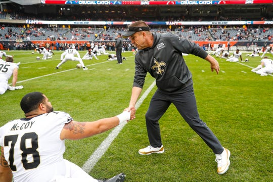 New Orleans Saints coach Sean Payton greets center Erik McCoy before a game at Chicago last season. Payton drafted McCoy in the second round of the NFL Draft last year out of Texas A&M after trading  up. The 2020 draft begins Thursday night.