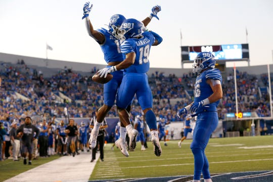 Memphis running back Kenneth Gainwell celebrates his touchdown with Kedarian Jones against Tulane during their game at the Liberty Bowl Memorial Stadium on Saturday, Oct. 19, 2019.