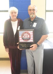 Southern Tag & Label Company was inducted into the MHHS Athletic Hall of Honor on Saturday. Pictured are founders Jim and Linda Maycunich.