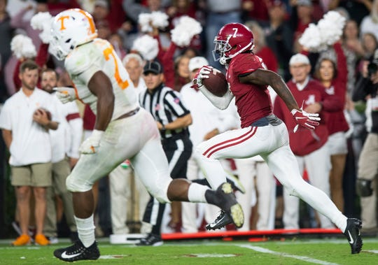 Alabama defensive back Trevon Diggs (7) returns a Tennessee fumble 100 yards for a touchdown at Bryant-Denny Stadium in Tuscaloosa, Ala., on Saturday October 19, 2019.