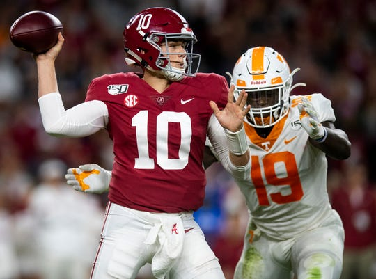 Alabama quarterback Mac Jones (10 passes against Tennessee at Bryant-Denny Stadium in Tuscaloosa, Ala., on Saturday October 19, 2019.