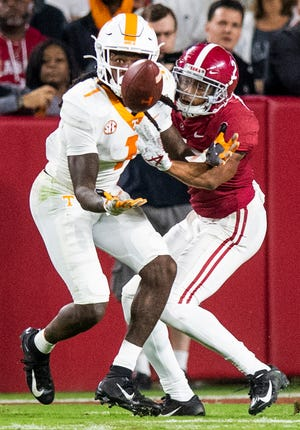 Alabama defensive back Patrick Surtain, II, (2) interferes with Tennessee wide receiver Marquez Callaway (1) on an incomplete pass at Bryant-Denny Stadium in Tuscaloosa, Ala., on Saturday October 19, 2019.