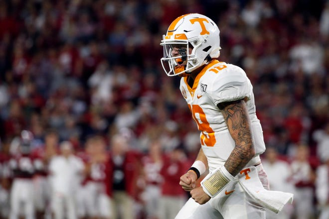 Oct 19, 2019; Tuscaloosa, AL, USA; Tennessee Volunteers quarterback Brian Maurer (18) celebrates after a score during the first half of an NCAA football game against the Alabama Crimson Tide at Bryant-Denny Stadium. Mandatory Credit: Butch Dill-USA TODAY Sports