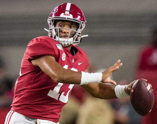 Alabama quarterback Tua Tagovailoa (13) throws against Tennessee at Bryant-Denny Stadium in Tuscaloosa, Ala., on Saturday October 19, 2019.