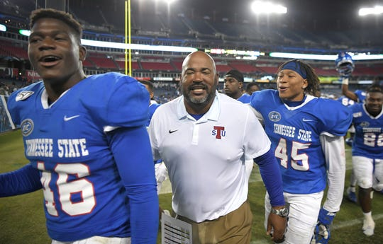 TSU head coach Rod Reed and players celebrate after beating Austin Peay on Oct. 19. The Tigers return to action Saturday against No. 21 Southeastern Missouri.