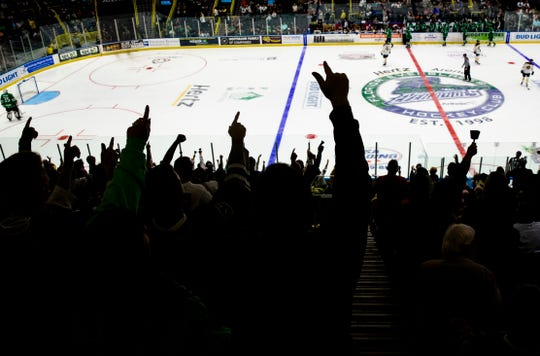 Fans crowd the renovated Hertz Arena during Florida Everblades' home opener on Saturday, Oct. 19, 2019.